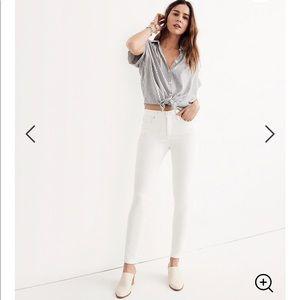 "Madewell 9"" High Rise Skinny White Jeans"